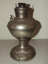 Antique 19th C. Edward Miller Lamp Co. Victorian Nickel Kerosene Oil Table Lamp