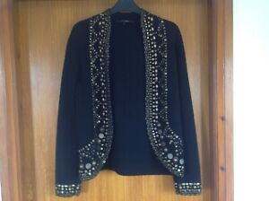 Jaeger Black With Metal Bead Detail Wool Open Front Cardigan Size Medium Ex Con