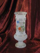 Antique Hand Blown Frosted Bristol Glass Vase Hand Painted Enamled Flowers