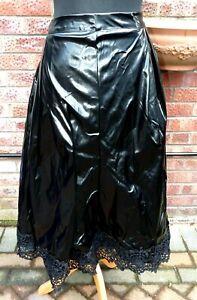 "shiny black pvc faux leather flared long skirt 38-42"" waist rubbery & lace TUB"
