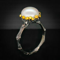 18k gold plated Engagement wedding Natural Pearl 925 Sterling Silver Ring /RVS50