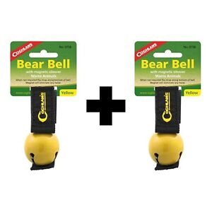 Coghlan's Bear Bell Yellow w/Magnetic Silencer & Loop Strap Warns Animals 2-Pack