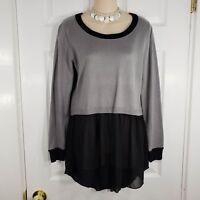 PATRIZIA LUCA Size Medium Gray & Black Flare Bottom Sweater Shirt Top womens