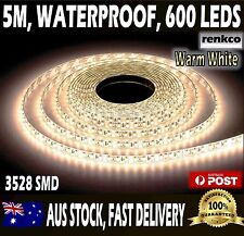 600 LED's Waterproof LED Strip Lights Warm White 12V 5M 3528 SMD For Car Caravan