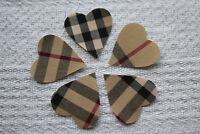10x Fabric Heart Applique Nova Tartan * Iron on * Sewable * 4.5cm * Hand Cut