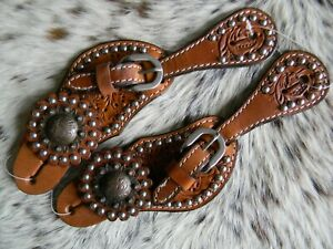 Pair Of Tooled Leather Western COPPER Hardware Youth or Ladies Spur Straps