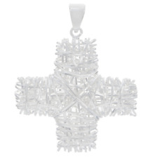 4.8G Cross Enhancer Pendant Qvc Ultrafine Silver Polished Wire Wrapped