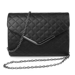Women Fashion Black Textured Crossbody Bag Evening Party Clutch Leather Handbag