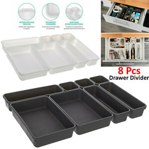 8pc Draw Dividers Partition Storage Container Box DIY Adjustable Organiser UK