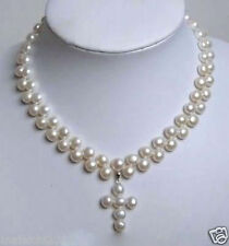 """Charming 2 Rows White Akoya freshwater Cultured Pearl Cross Pendant Necklace 18"""""""