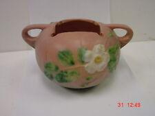 Roseville Pottery - White Rose Pattern - 387-4 - Handled Bowl - Mint