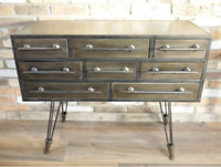 Cabinet Industrial Style Aged Furniture 8 Drawers Metal Chest Storage Sideboard