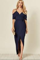 Womens Navy Wrap Cold shoulder Split Leg Summer Evening Maxi Dress Size 8 - 14