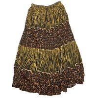 Vintage Cheetah Print Maxi Skirt Womens Medium Flowy Hippie Trendy Fall Summer