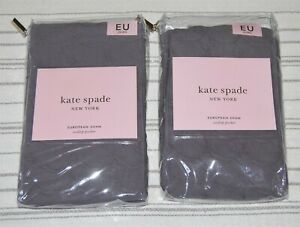 2 NEW Kate Spade Scallop Pucker EURO Pillow Shams, Charcoal Gray