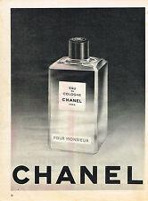 PUBLICITE ADVERTISING 094  1958  CHANEL  eau de COLOGNE  pour Monsieur