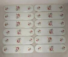 Job Lot - 12 Ceramic Finger Plates - White Floral Design - Pre-Drilled - Vintage
