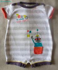 """Petit Béguin***Combicourt adorable 6 mois/67 cm rayé gris et blanc """"Robot"""""""