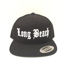Long Beach Cap Yupoong Classic Snapback Hat Custom Embroidery Adjustable Black