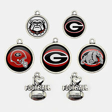 7Pcs NCAA Georgia Bulldogs College Football Team Logo Charms Glass Jewelry Gift