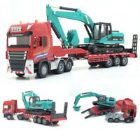 1:50 2 IN 1 Alloy Diecast Excavator + Trailer Model Engineering Vehicle Toy Gift