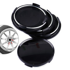 "4pcs Universal 63mm 2.5"" Car Wheel Hubs Center Caps Covers No Badge Emblem Black"