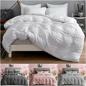 100% Egyptian Cotton 200TC Seersucker Duvet Cover with Pillowcase Bedding Set