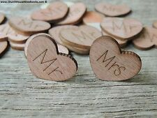 """100 qty 1"""" MR MRS Wood Hearts Table Confetti Wooden Wedding Decor Heart Sign"""