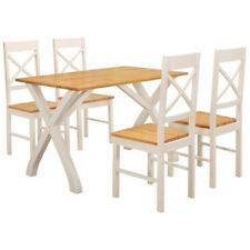 Solid Wood & White Painted Finish Dining Table and Chair Set with 4 Seats