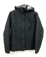Barbour Womens 8 Millfire Quilted Jacket Black Hooded Full Zip Mid Weight NWT