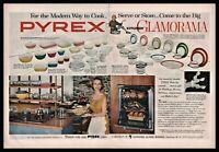 1955 PYREX WARE Bowl and Refrigerator Set Dinnerware Mid-Century Kitchen 2pg AD