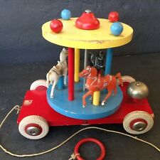 Vintage 1960's Brio Wood Carousel Merry-Go-Round Pull Toy with Bell
