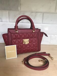 MICHAEL KORS VIVIANNE CROSSBODY RED GOLD STUDDED QUILTED BAG TOTE LEATHER £175!