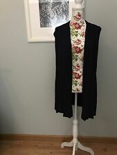 Women's Navy Blue Long Vest With Lace Backing Size XS Coldwater Creek