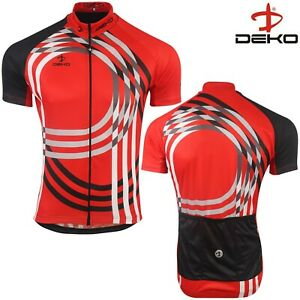 Cycling Jersey Mens Short Sleeve Summer Bicycle Full Zipper MTB Racing Top Red