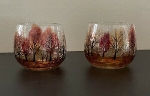 Yankee Candle Autumn Leaves Crackle Glass Tealight Holders Set of 2 3in