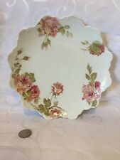"RC CROWN Malmaison BAVARIAN DECORATIVE ROSES SCALLOP 9"" PLATE ~ BEAUTIFUL!!!!"