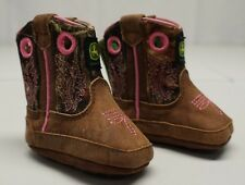 John Deere Girls 1 M Toddler Brown Leather Western Cowboy Boots NWOTs