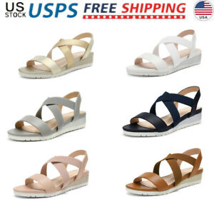 DREAM PAIRS Women's Casual Open Toe Ankle Strap Platform Slingback Wedge Sandals