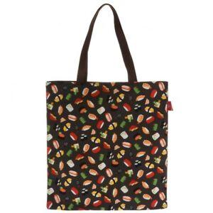 Kotobuki Japanese Student Women Shoulder A4 Tote Bag Handbag Black Nigiri Sushi