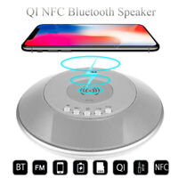Qi Wireless bluetooth Speaker FM Radio NFC Power Bank Alarm Clock Charging Pad