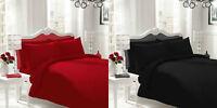 Red Black Plain Dyed Duvet Set Quilt Cover Pillow Cases Bedding All Sizes
