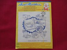 """NEW Vintage AUNT MARTHA`S HOT IRON TRANSFERS """"Fruits and Vegetables"""" 3632"""