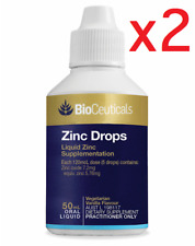 2 x Bioceuticals Zinc Drops for SPERM HEALTH IMMUNE FUNCTION 50ml - FREE POSTAGE