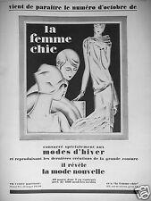 PUBLICITÉ 1927 LA FEMME CHIC MODES D'HIVER - ADVERTISING