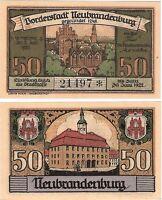 Germany 50 Pfennig 1921 Notgeld Neubrandenburg UNC Uncirculated Banknote