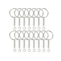 200pcs 25mm Split Key Ring Chain With 200 Chains Metal Hoop Loop Craft hjk