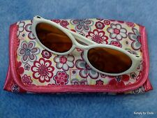 """**SALE** WHITE Acrylic DOLL SUNGLASSES w/Floral CASE fits 18"""" AMERICAN GIRL Doll"""