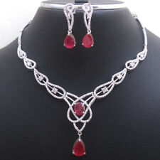 Ruby CZ 925 Sterling silver Necklace Earring 3 piece Bridal Jewelry Set