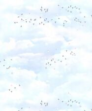 Muriva Fly Away Multi Wallpaper 102569 Childrens Kids Nursery Clouds Bird Dots